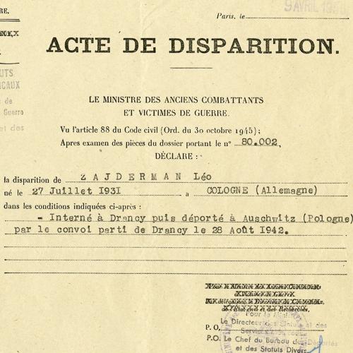 Acte de Disparition (Disappearance Certificate) for Leo Zajderman