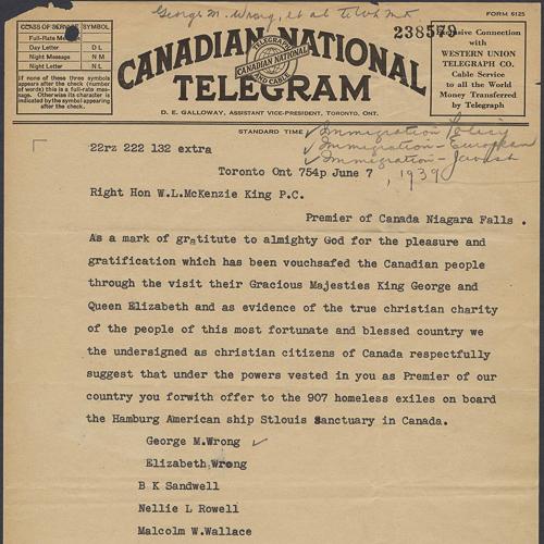 Télégramme envoyé au premier ministre W.L.McKenzieKing