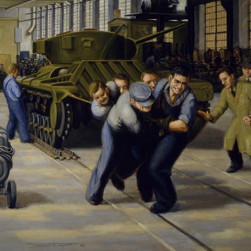Installation de chenilles sur un char Valentine – la moitié de la manœuvre, peinture de Frederick B. Taylor