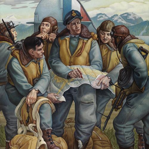 Séance d'information de l'Aviation royale du Canada avant Kiska, peinture de Paul Goranson
