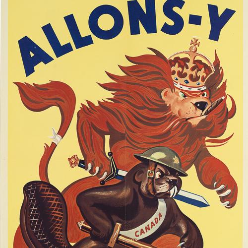 Illustration couleur d'un castor et d'un lion tenant des épées.