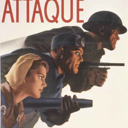 Illustration couleur d'une femme tenant une houe, un homme tenant un pistolet à rivet et un soldat tenant une mitraillette.