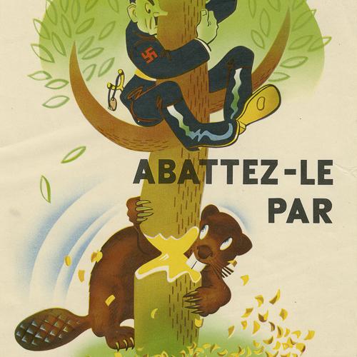 Illustration couleur d'une caricature de Hitler dans un arbre, avec un castor rongeant le tronc.