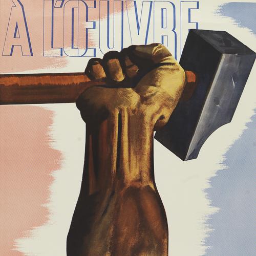Illustration couleur d'un bras tenant un marteau de forgeron.