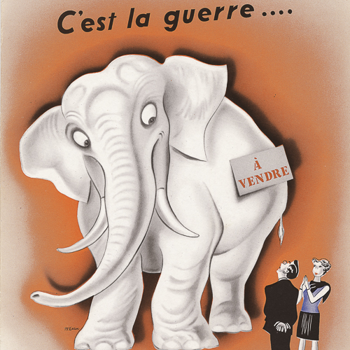 Illustration d'un elephant portant un affiche « À vendre ».