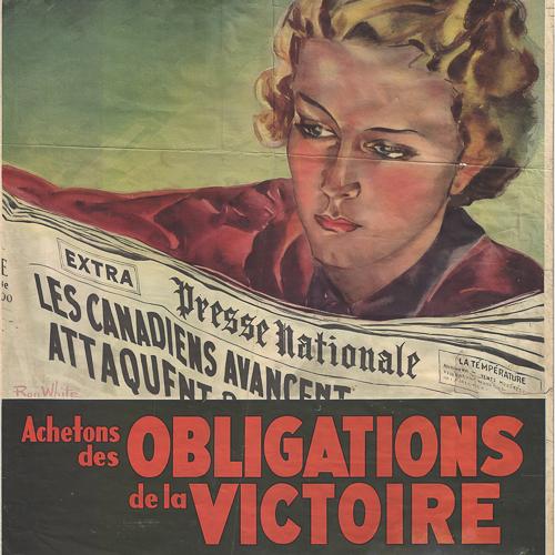Illustration en couleur d'une femme lisant des nouvelles des avancées canadiennes à l'étranger.
