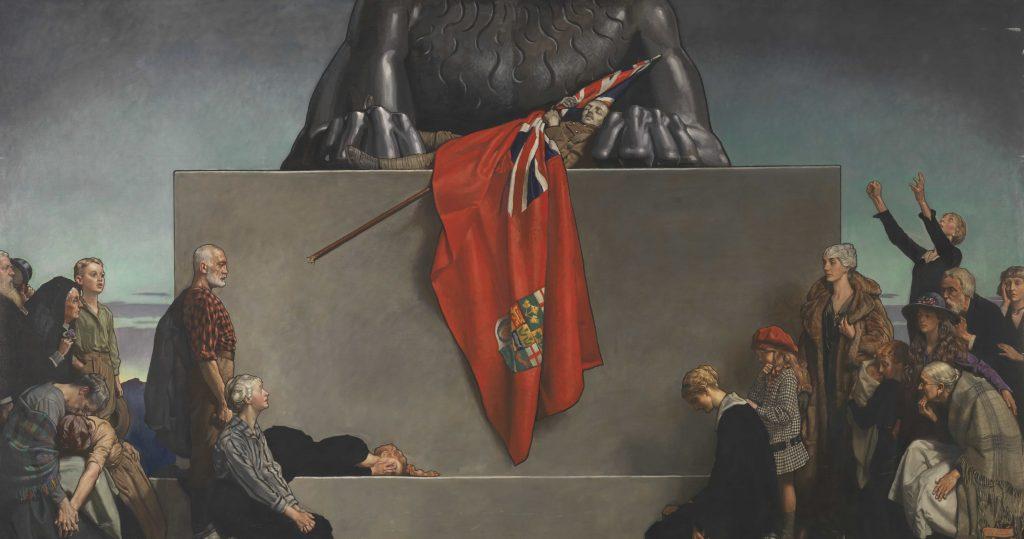Une foule de personnes en deuil se rassemble au pied du monument représentant un lion partiellement visible. Entre les pattes du lion se trouve un soldat mort en uniforme, enveloppé dans le Red Ensign canadien.