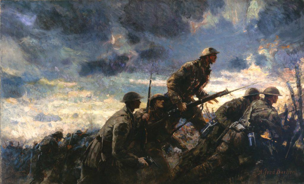 Groupe de soldats émergeant d'une tranchée pour lancer une attaque.