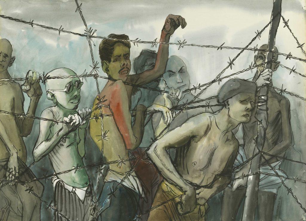 Groupe d'hommes émaciés, torse nu, derrière une clôture de barbelés. Quelques-uns tendent leurs bras à travers la clôture.
