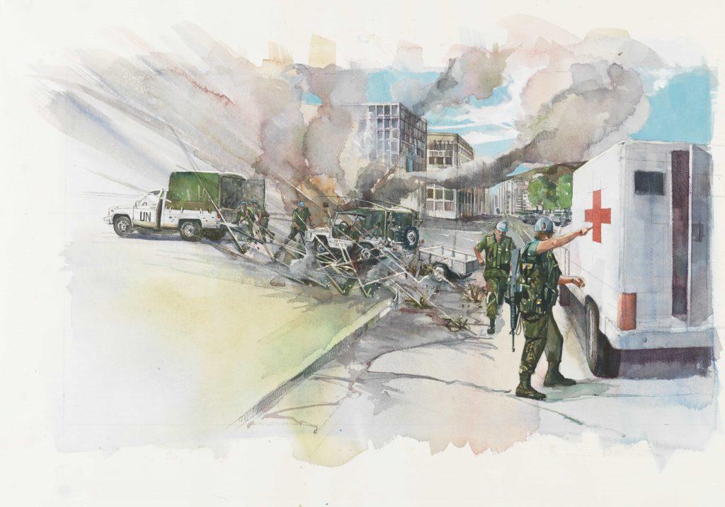 Plusieurs hommes en uniforme essuient des tirs dans la rue d'une ville. Sont aussi illustrés des véhicules des Nations Unies et une ambulance marquée d'une croix rouge.