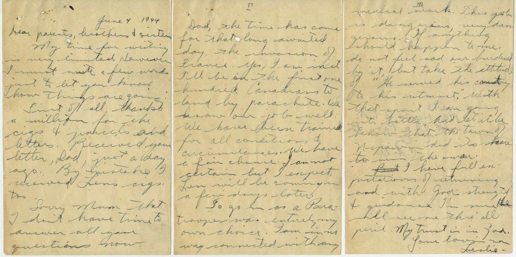 manuscrite de trois pages