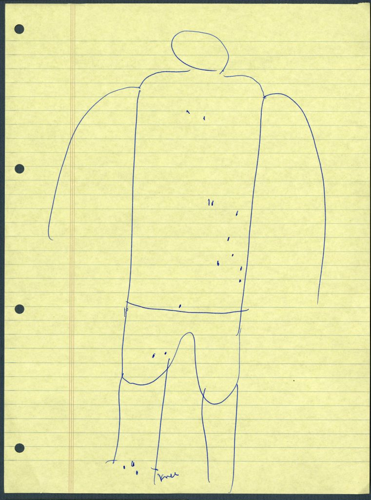 A drawn human figure with marks indicating injuries