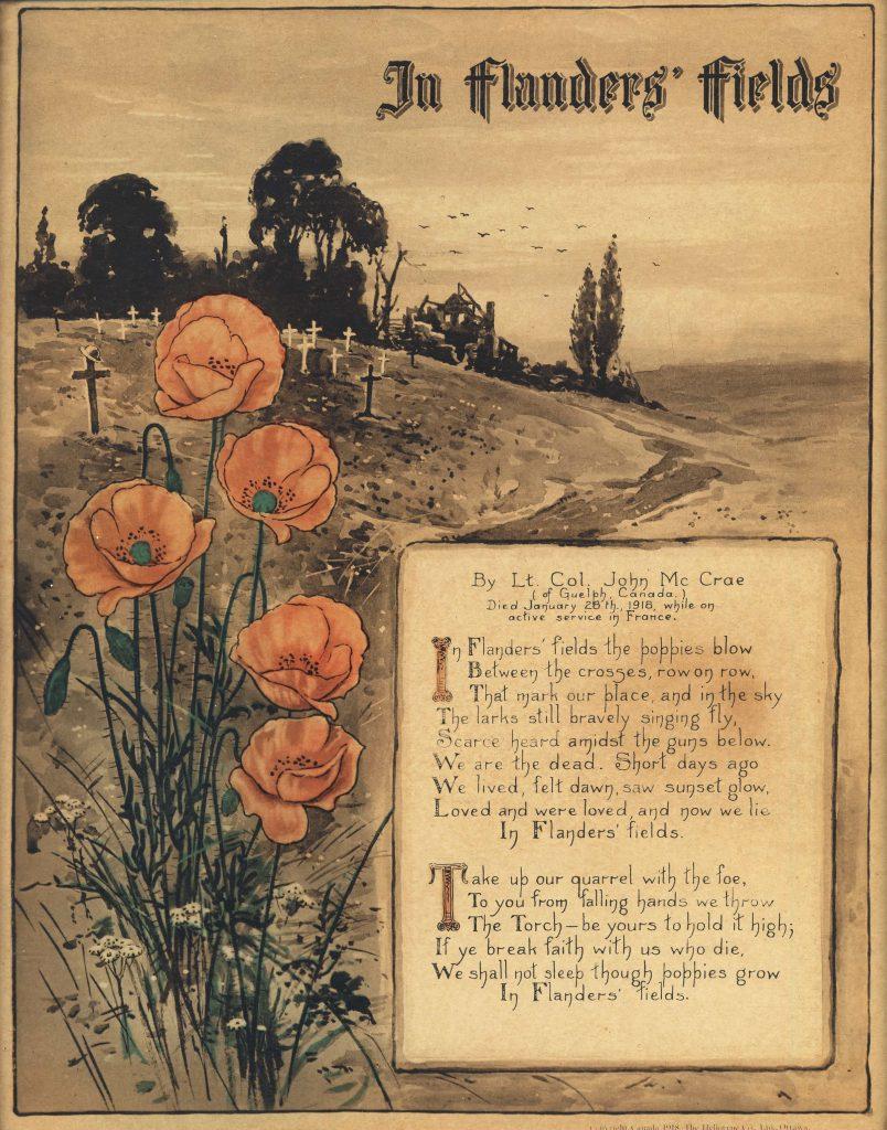 Paysage de campagne avec un bouquet de coquelicots au premier plan, à côté d'un poème écrit à la main.