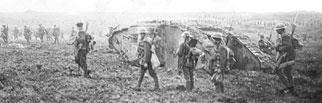 La prise de la crête de Vimy, avancée par-delà le no man's land avec des chars