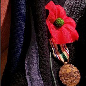 Un coquelicot et une médaille